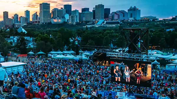 Looking down the Edmonton Folk Music Festival main stage hill at an Allstar Show Industries LED Video Screen